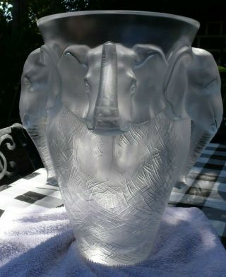 VERY rare and HUGE Lalique Vase,  Elephant Design, 11