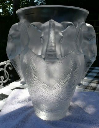 VERY rare and HUGE Lalique Vase,  Elephant Design, 4