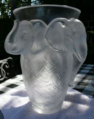 VERY rare and HUGE Lalique Vase,  Elephant Design, 6