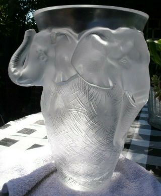 VERY rare and HUGE Lalique Vase,  Elephant Design, 9