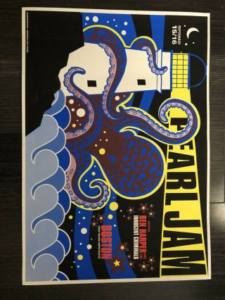 Pearl Jam Poster Greatwoods Sept 15 - 16 Boston Octopus Rare