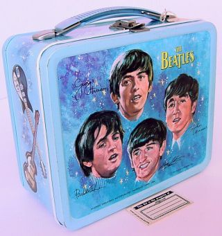 1964 Aladdin The Beatles Lunch Box W Name Label & Tag Old Store Stock