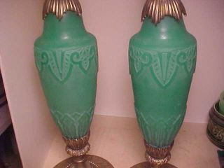 Pair Steuben Jade Green Acid Cut Back Table Lamps