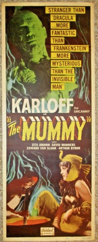 "The Mummy (realart,  R - 1951).  Fine,  Insert (14 "" X 36 "").  Unrestored,  Untouched."
