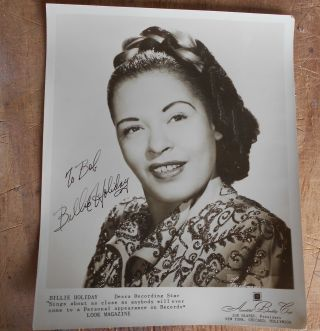 Vintage Autographed Photograph Billie Holiday Jazz Singer