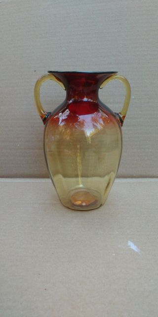 Vintage Signed Libbey Amberina Bulbous Handled Art Glass Vase Large
