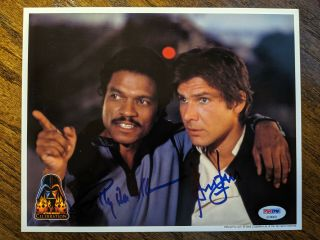 Harrison Ford Signed Star Wars 8x10 Billy Dee Williams Coolwaters Psa/dna