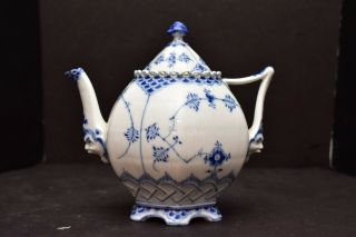 Royal Copenhagen Blue Fluted Full Lace Teapot 1118 Gargoyle Faces