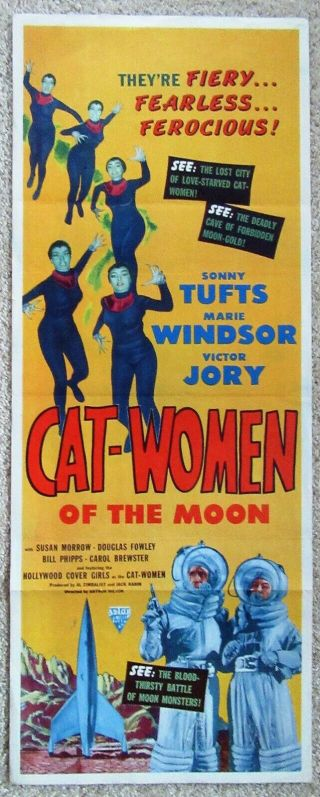 Cat Women Of The Moon 1953 Insrt Movie Poster Fld Ex
