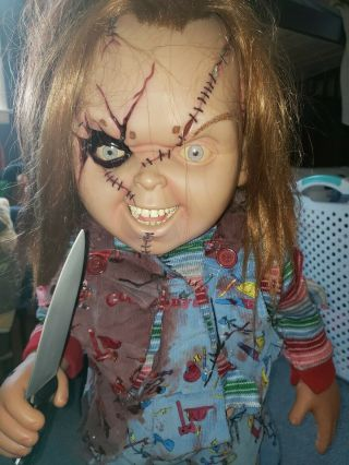 Seed of chucky Doll Childs Play Doll life size Sideshow 1:1 With Knife And Base 2