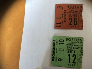 The Beatles Ticket Stubs Boston North Station 1964 & 1965