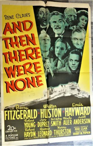 1945 Agatha Christie Signed Dated Color Movie Poster And Then There Were None