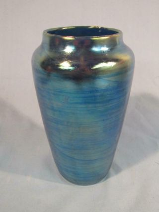 "Antique 7 "" Signed Loetz Austria Blue Aurene Art Glass Vase"