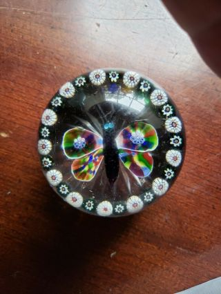 Rare Baccarat Garlanded Butterfly 19th Century Millefiori Paperweight