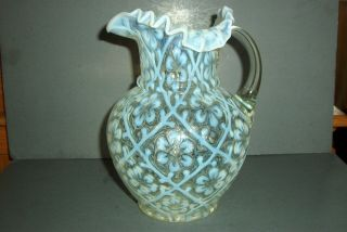 Eapg Beaumont Art Glass French Opalescent Daisy In Criss Cross Water Pitcher