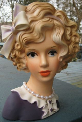 Reserved - Very Rare E0298 Teen Head Vase In Purple Dress W Lovely Curls Headvase
