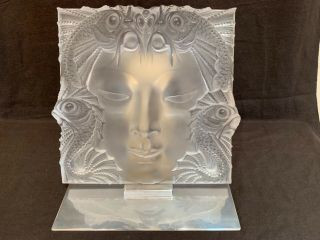 "Lalique Masque De Femme Frosted Crystal Sculpture 12.  75"" Sq Stand Perft"