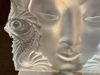 """Lalique Masque De Femme frosted crystal sculpture 12.  75"""" sq stand PERFT 3"""