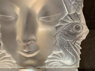 """Lalique Masque De Femme frosted crystal sculpture 12.  75"""" sq stand PERFT 4"""