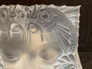 """Lalique Masque De Femme frosted crystal sculpture 12.  75"""" sq stand PERFT 5"""