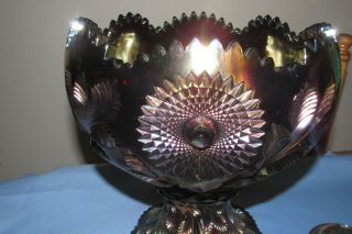 Vintage Millersburg Carnival Glass Punch Bowl,  11 Cups,  Amethyst Hobstar & Feather 2