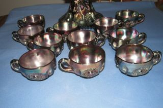 Vintage Millersburg Carnival Glass Punch Bowl,  11 Cups,  Amethyst Hobstar & Feather 5