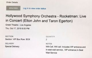 "Two Vip Box Tickets To "" Rocketman: Live In Concert (elton John),  "" 10/17/2019"