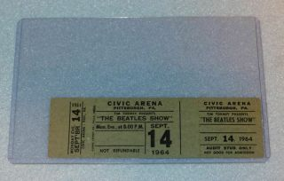 Vintage 1964 The Beatles Concert Ticket,  Htf Pittsburgh Appearance