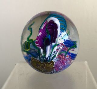 Studio Art Glass Paperweight Signed Mark Eckstrand