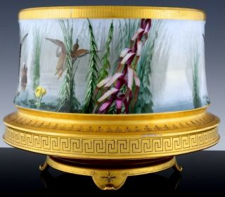 STUNNING LARGE LIMOGES PARIS PORCELAIN HAND PAINTED DUCK SCENIC FERN POT VASE 2