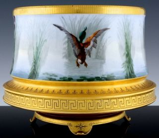 STUNNING LARGE LIMOGES PARIS PORCELAIN HAND PAINTED DUCK SCENIC FERN POT VASE 3
