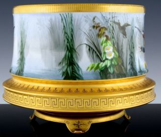 STUNNING LARGE LIMOGES PARIS PORCELAIN HAND PAINTED DUCK SCENIC FERN POT VASE 4