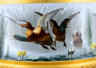 STUNNING LARGE LIMOGES PARIS PORCELAIN HAND PAINTED DUCK SCENIC FERN POT VASE 5