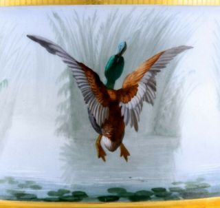 STUNNING LARGE LIMOGES PARIS PORCELAIN HAND PAINTED DUCK SCENIC FERN POT VASE 6