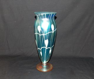Durand Art Glass Blue And White Hanging Hearts Vase
