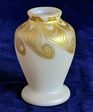 "Signed Decorated Steuben Aurene 3.  5 "" Art Glass Cabinet Vase Rare"