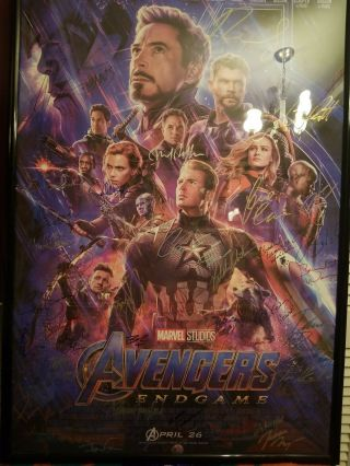 Avengers Engame Cast Signed Poster