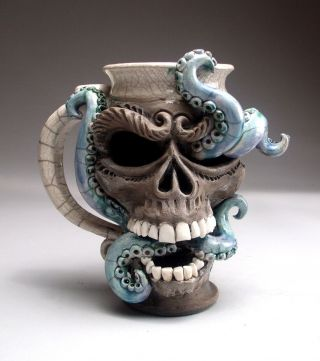 Skull Octopus Face Mug Folk Art Pottery Sculpture Face Jug By Mitchell Grafton