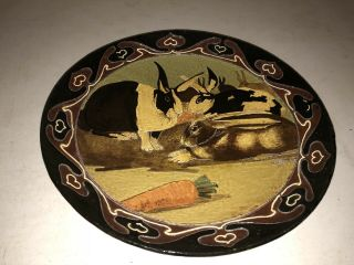 "Harry Or Frederick Hurten Rhead 14"" Charger The Foley Faience England Rabbits"