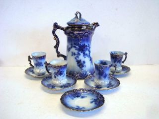 La Belle China Flow Blue Chocolate Pot With Cups,  Saucers