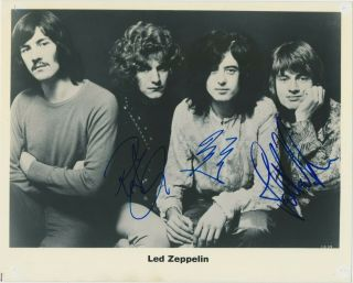 "Led Zeppelin 8 "" X 10 "" Glossy Photograph Signed By 3 Members Epperson"