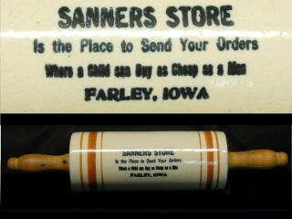 Antique Farley Iowa Advertising Stoneware Banded Rolling Pin Western Red Wing
