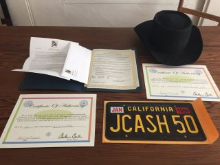 Johnny Cash License Plate And June Carter Cash's Black Stetson Hat