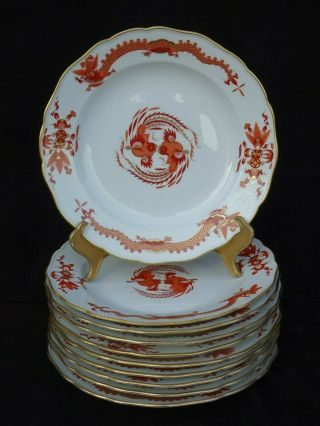 "8 Antique Meissen "" Red Court Dragon "" 9 3/4 "" Dinner Plates"