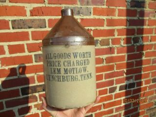 Rare Orig.  Antique Pre Prohibition Lem Motlow Jack Daniels Stoneware Whiskey Jug