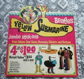 Beatles Rare 1968 Yellow Submarine In - Store Promotional Display For