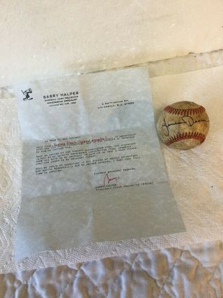 Actor James Dean Signed Autographed Baseball W/ Barry Halper Letter