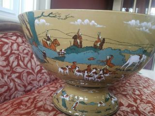 Antique Deldare Ware Buffalo Pottery Punch Bowl 1909 Fallowfield Hunt 10