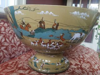 Antique Deldare Ware Buffalo Pottery Punch Bowl 1909 Fallowfield Hunt 11