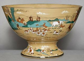 Antique Deldare Ware Buffalo Pottery Punch Bowl 1909 Fallowfield Hunt
